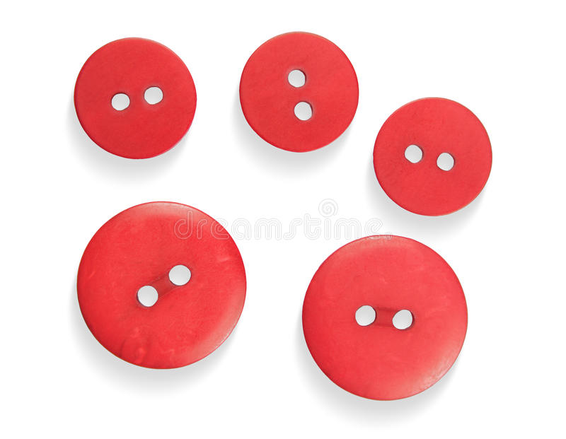 Red Buttons. The five red buttons on a white background closeup stock photography