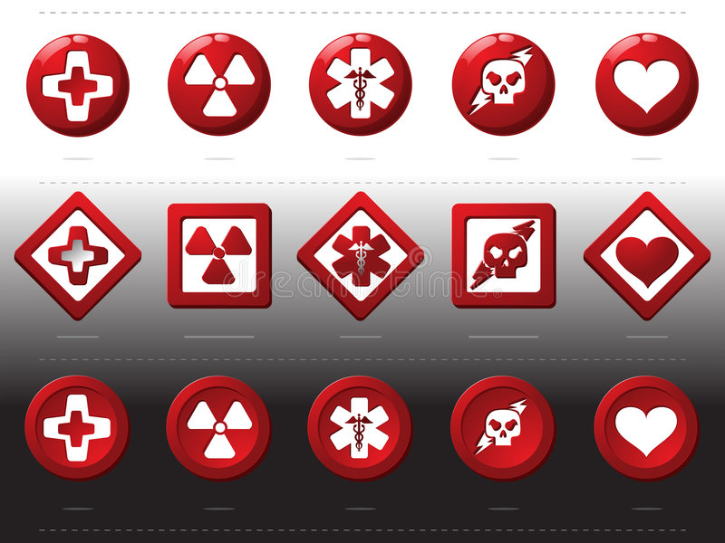 Red buttons - health signs. Used icons of emergency as buttons of alert vector illustration