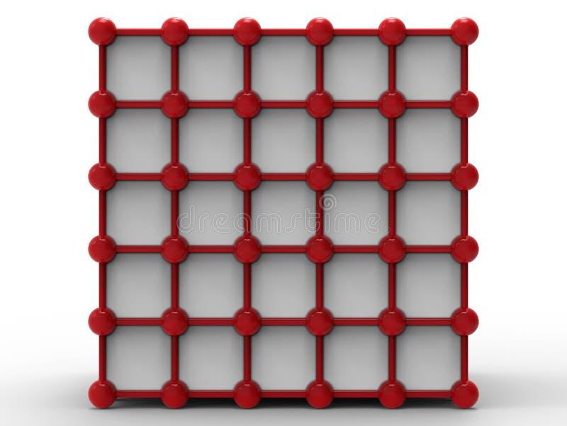 Red cúbica del átomo stock de ilustración