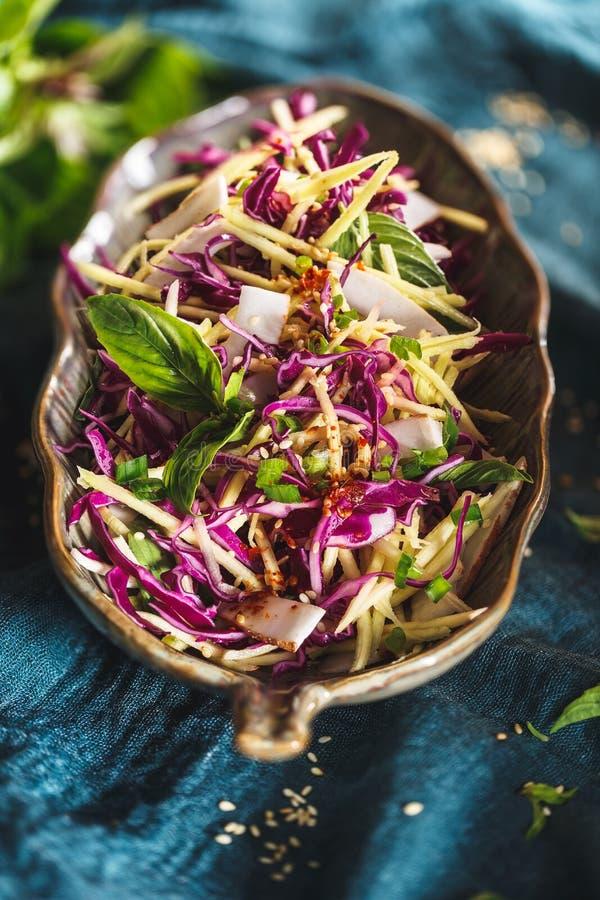 Free Red Cabbage, Coconut, Mango Salad. Vegetarian Summer Salad Royalty Free Stock Image - 117219616