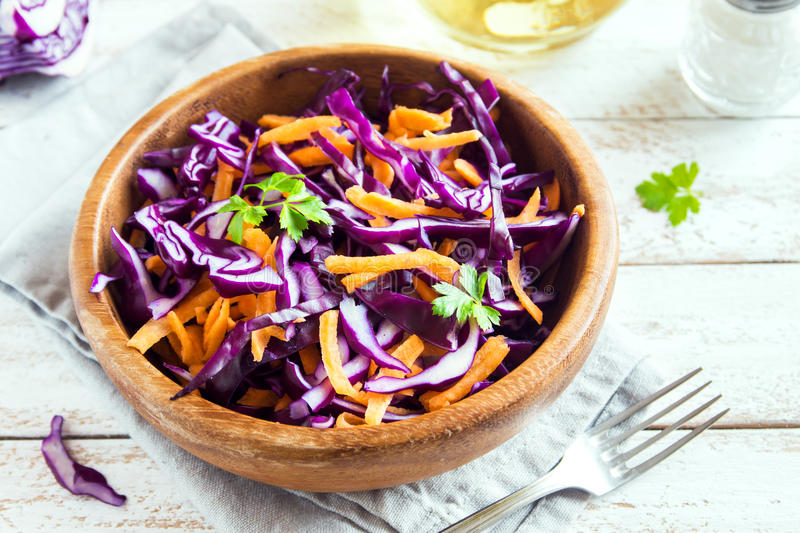 Red Cabbage Coleslaw Salad royalty free stock image