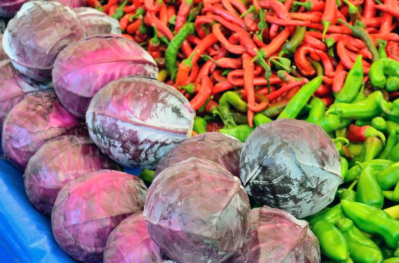 Red cabbage, green and red pepper royalty free stock photos