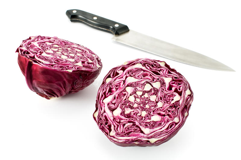 Red cabbage with knife. On white stock photo