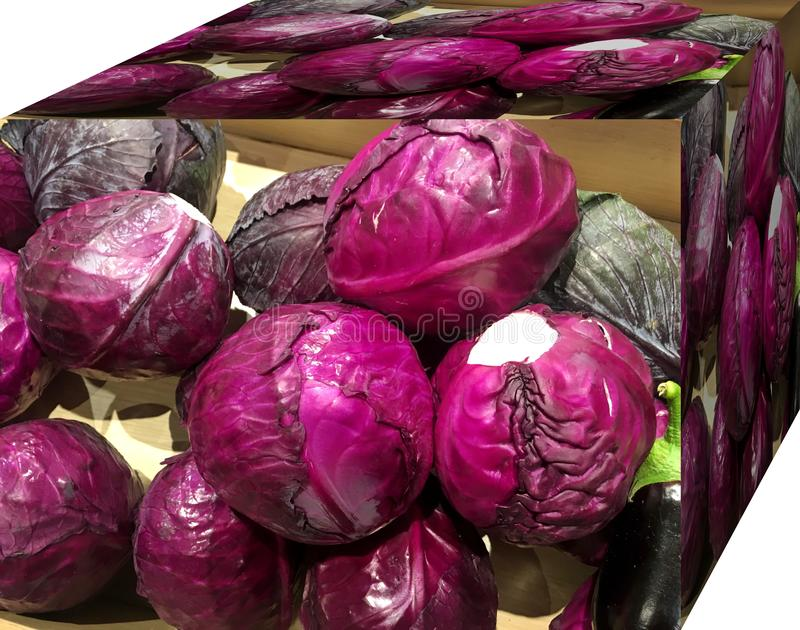Red cabbage. . For sale in the market.  Natural fruits, natural vitamins. Red cabbage. For sale in the market. Natural fruits, natural vitamins. Cubic form. 3D royalty free stock images