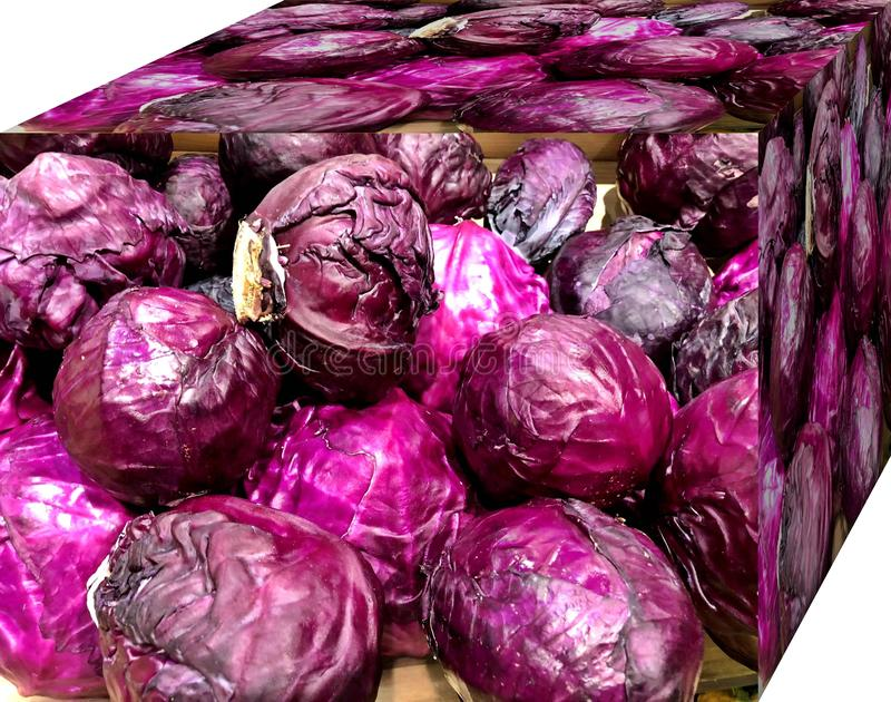 Red cabbage. . For sale in the market.  Natural fruits, natural vitamins. Red cabbage. For sale in the market. Natural fruits, natural vitamins. Cubic form. 3D stock photos