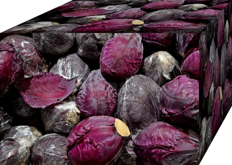 Red cabbage. . For sale in the market.  Natural fruits, natural vitamins. Red cabbage. For sale in the market. Natural fruits, natural vitamins. Cubic form. 3D stock photography
