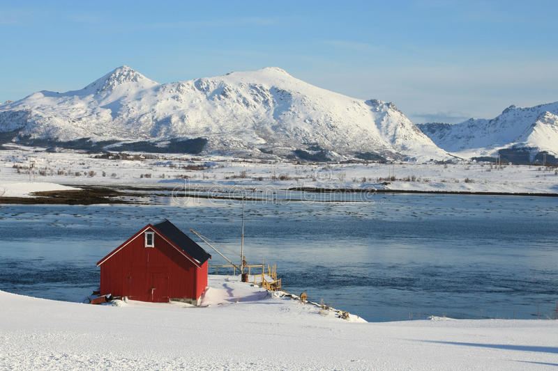 Red cabin on Nappfjord side. Red fisherman's cabin on the Lofoten islands fjord of Napp royalty free stock image