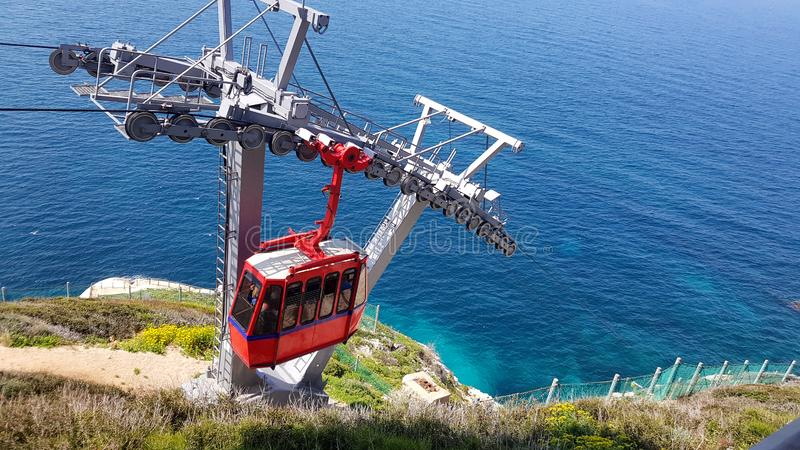 Red Cable Car in Rosh Hanikra at the Mediterranean Sea stock photos