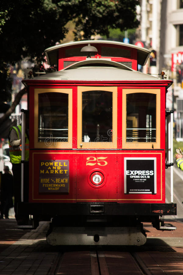 Red Cable Car in San Francisco stock photography