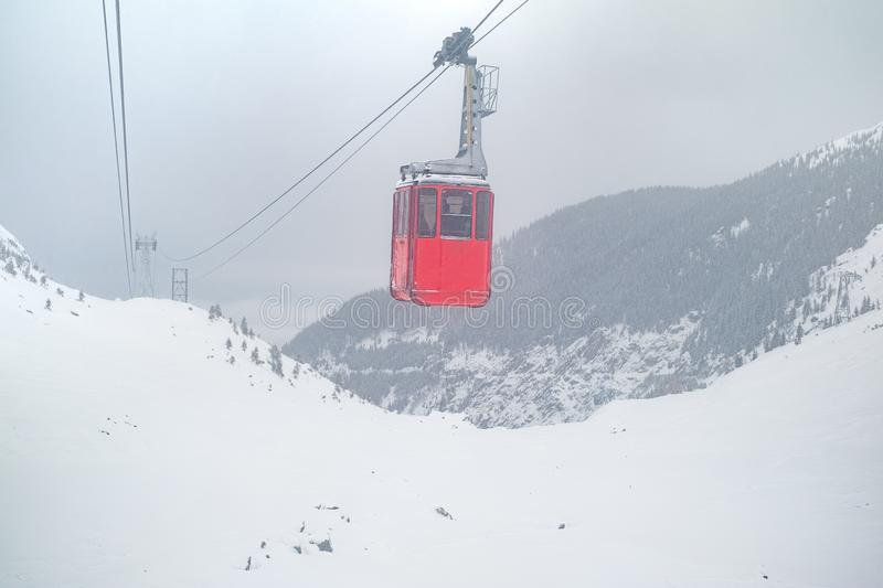 Red Cable Car On Snow Storm Stock Image - Image of high ...