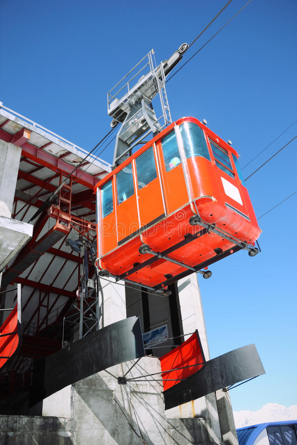 Red Cableway Stock Photo