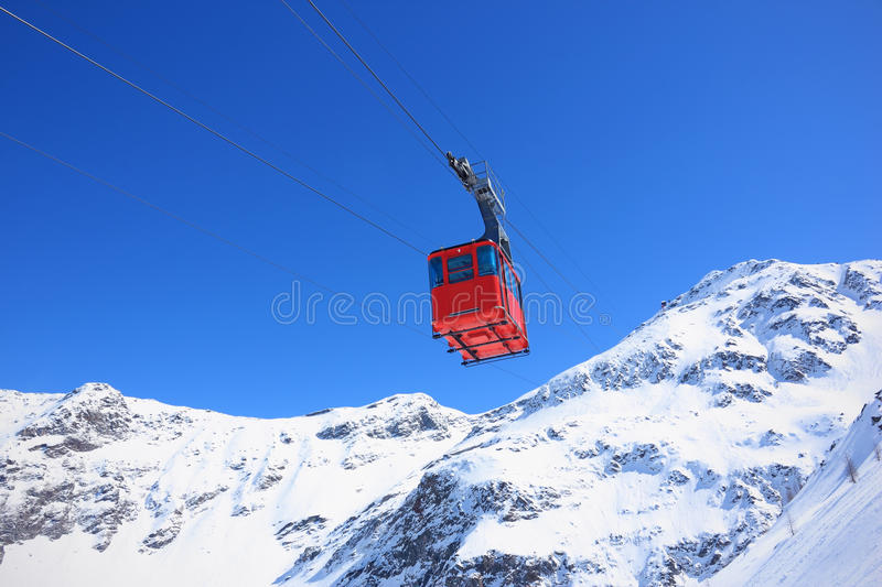 Download Red cableway stock photo. Image of blue, snow, tourism - 19504680