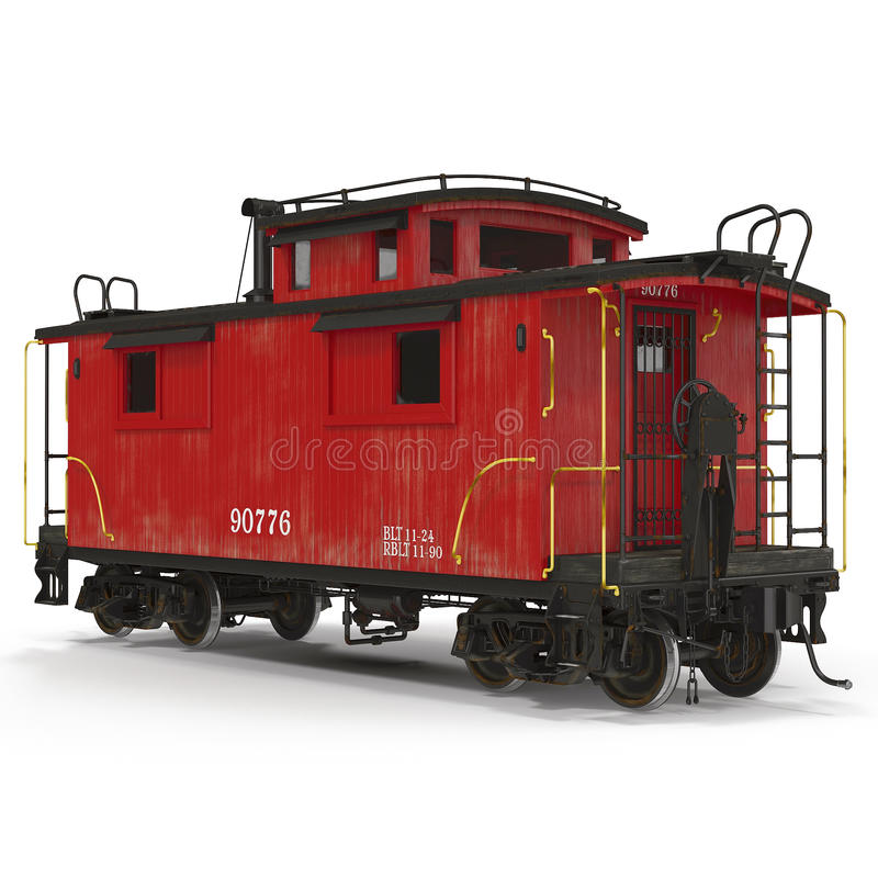 Red Caboose isolated on white. 3D Illustration royalty free illustration