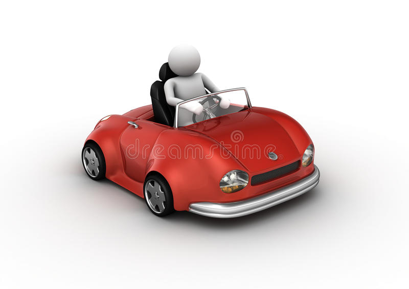 Red cabrio car driven by character. 3d isolated on white background micromachines series royalty free illustration
