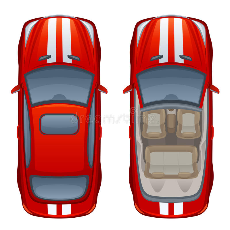 Red cabriolet. Top view on a red cabriolet stock illustration