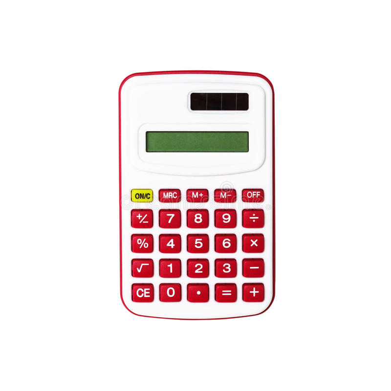 Red calculator isolated on white background.  royalty free stock photos