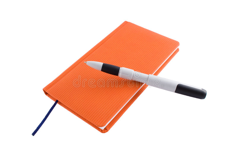Red calendar and ballpen. Isolated on a white background royalty free stock image