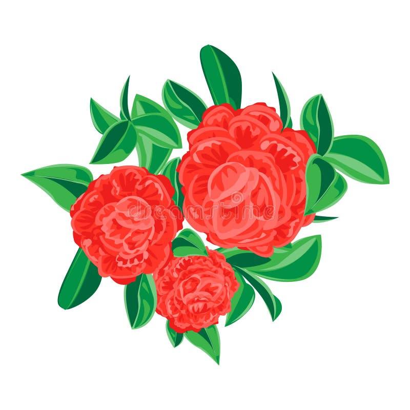 Red camellia icon, cartoon style stock illustration