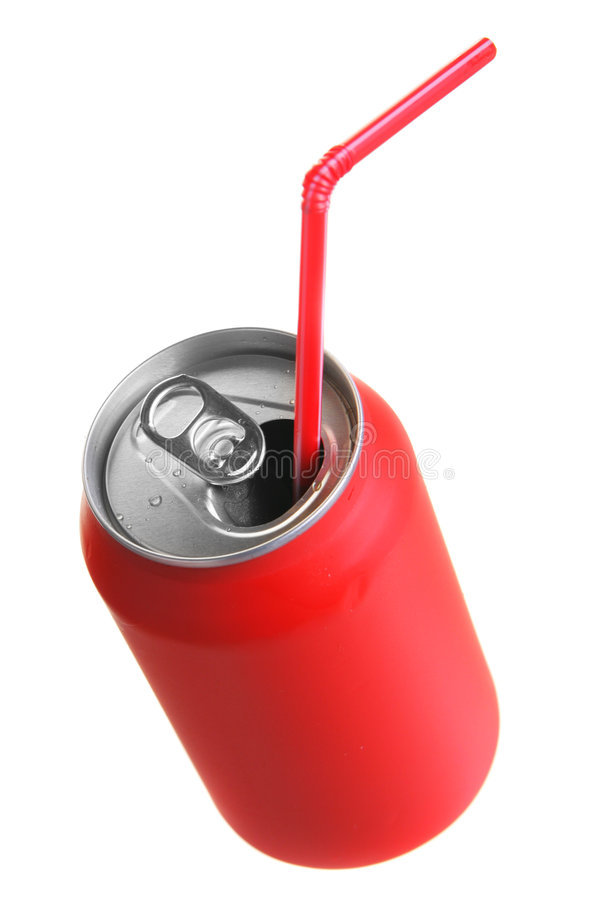 Red can with straw. Isolated over white background stock images