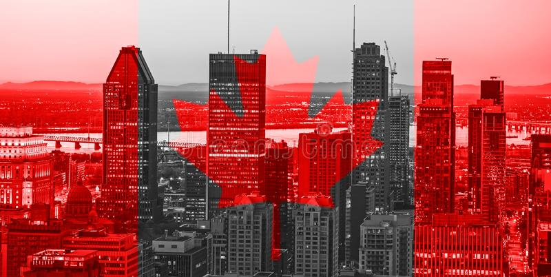 Red Canadian symbol over buildings of Montreal town at Canada National Day of 1st July. Canada Day flag with maple leaf on vector illustration