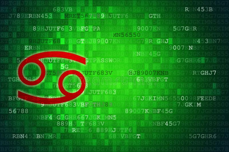 Red Cancer Zodiac Sign on green digital background. Copy Space.  stock illustration