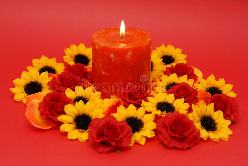Download Red candle stock photo. Image of scent, flowers, valentines - 2306638