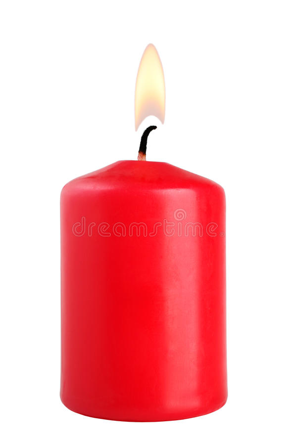 Red candle. Isolated on white background royalty free stock photo