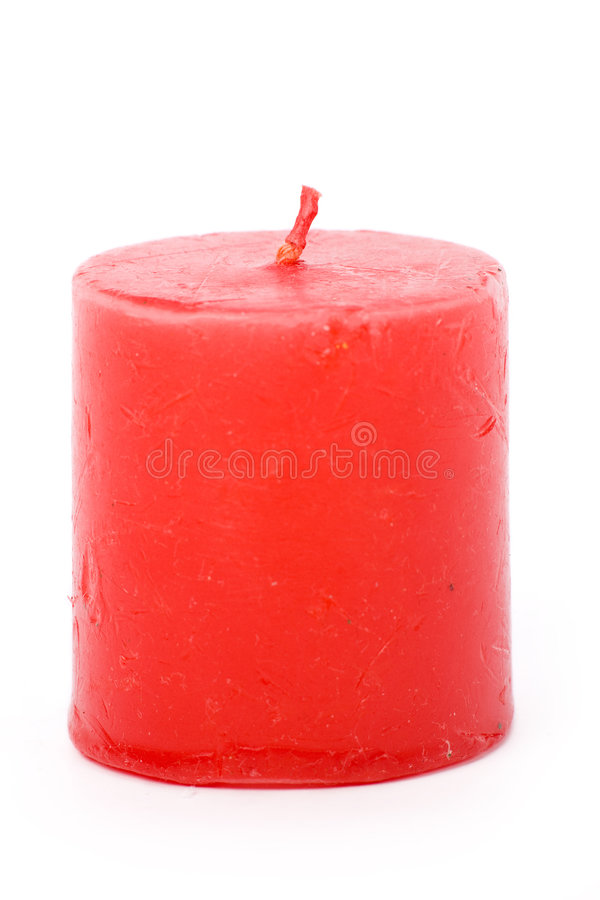 Red candle. With white background royalty free stock image
