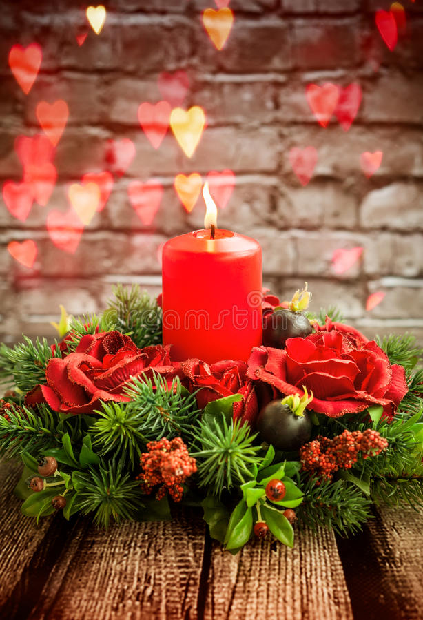 Red candle. Burning red candle for Valentine's day royalty free stock photos