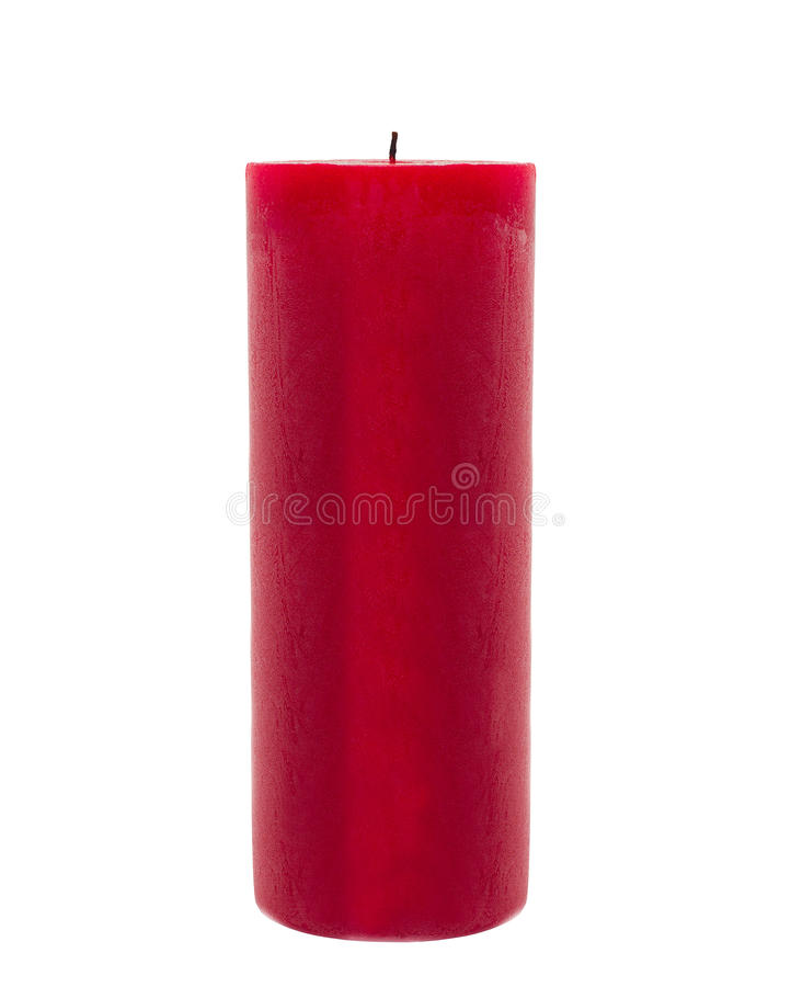 Red candle isolated in front of white background stock photos