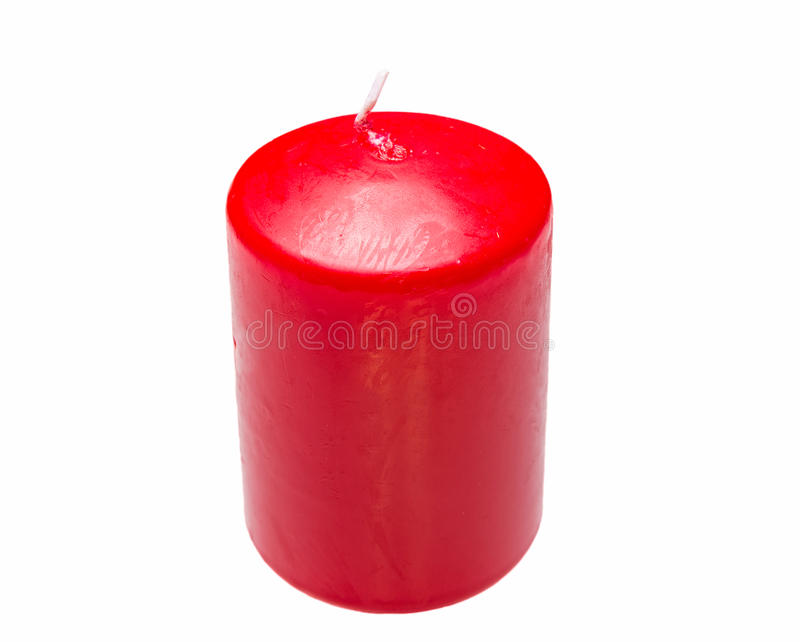 Red candle. Isolated on white background stock image