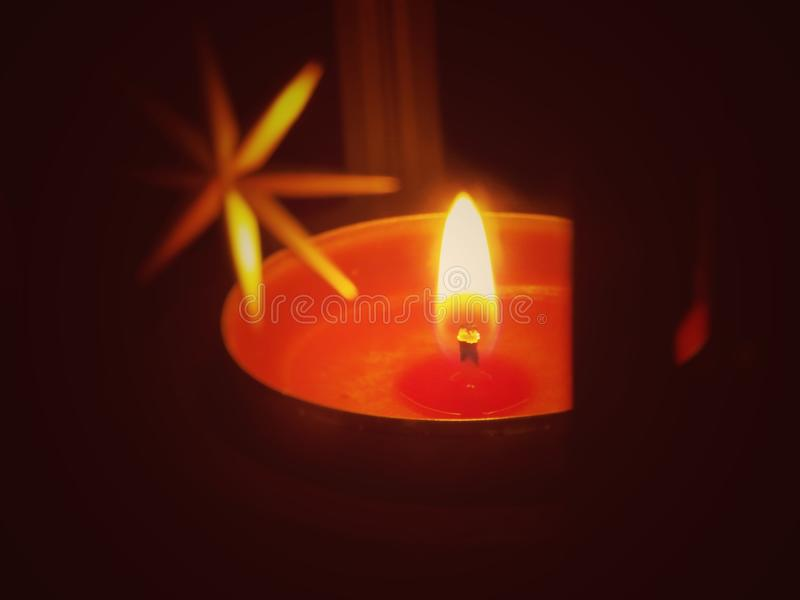 Red candle in lantern. Very special view stock photography