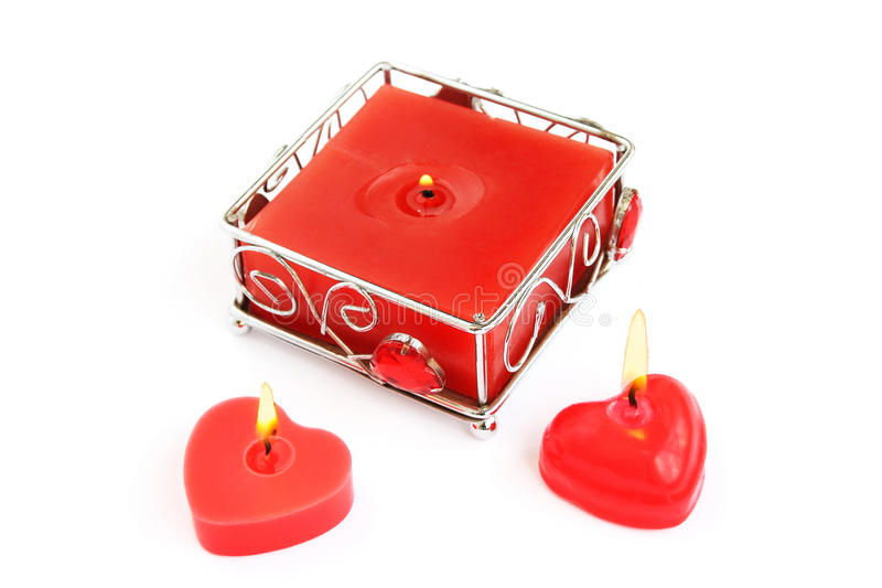 Red candles stock photo