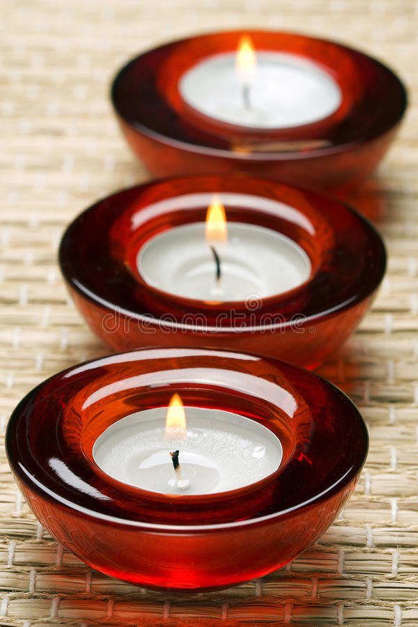 Red Candles In Spa Stock Photography