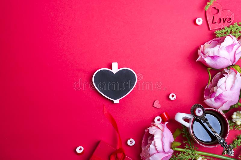 Red candy heart shape on spoon stock photo