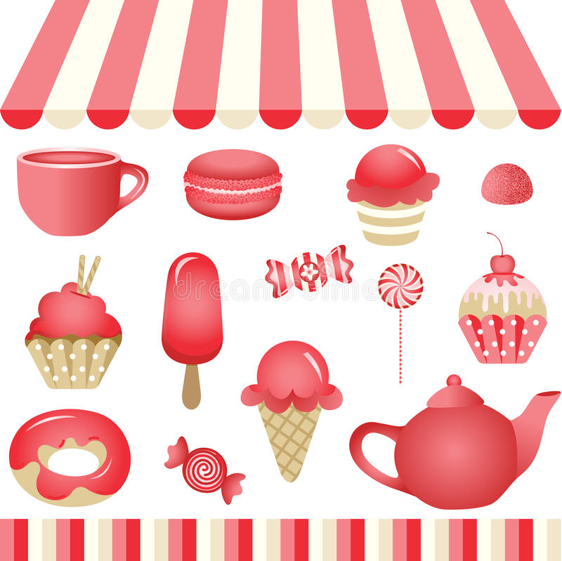 Red Candy Shop. Scalable vectorial image representing a red candy shop, isolated on white. EPS10 stock illustration