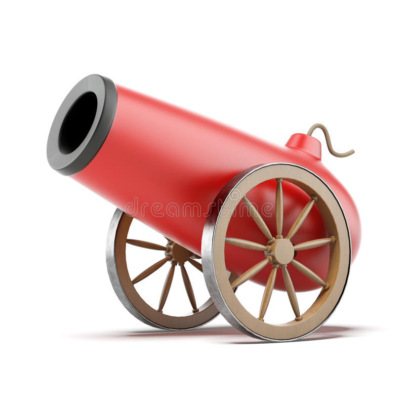 Red cannon stock photo