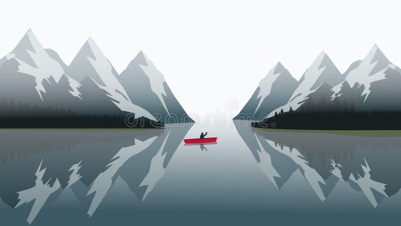 Red canoe sailing on a blue lake stock illustration