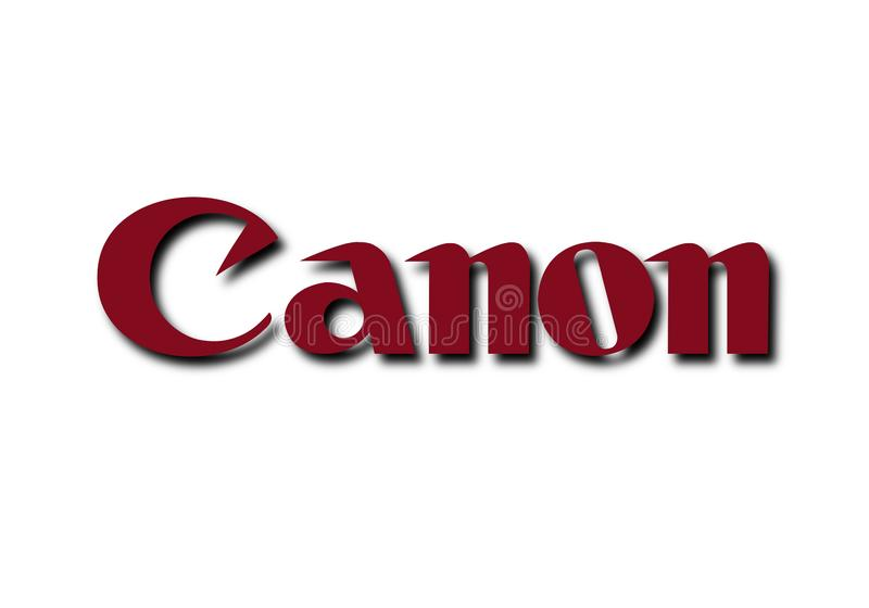 Red Canon DSLR logo isolated on white background royalty free stock photography