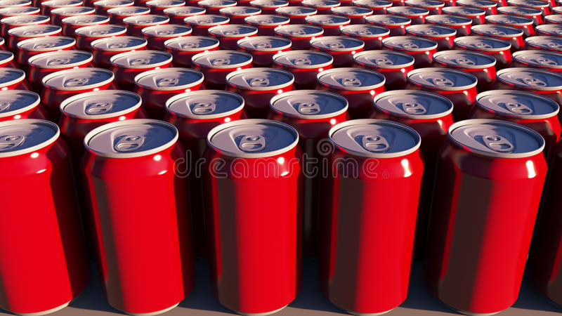 Red cans with no logo at sunset. Soft drinks or beer for party. Recycling packaging. 3D rendering. Red cans with no logo at sunset. Soft drinks or beer for party royalty free stock photos