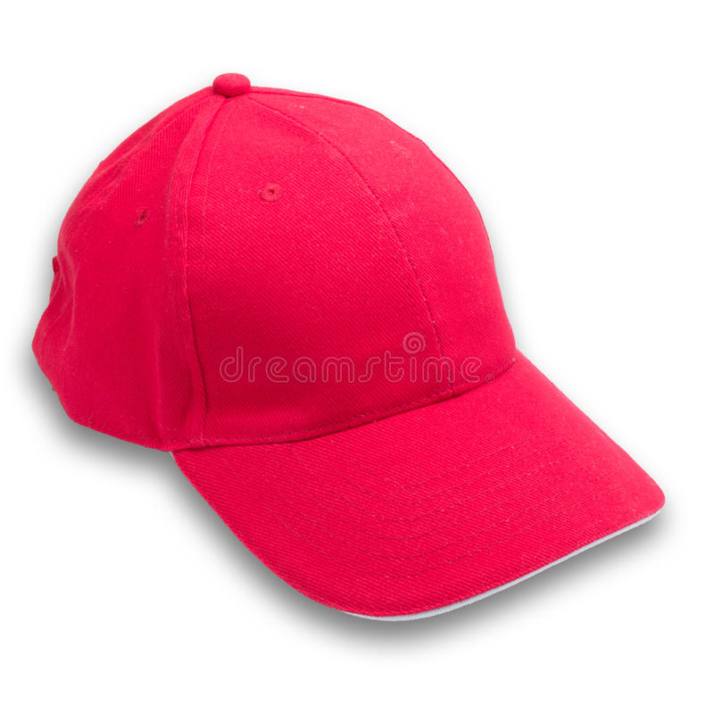 Red cap on isolated background. White stock photography