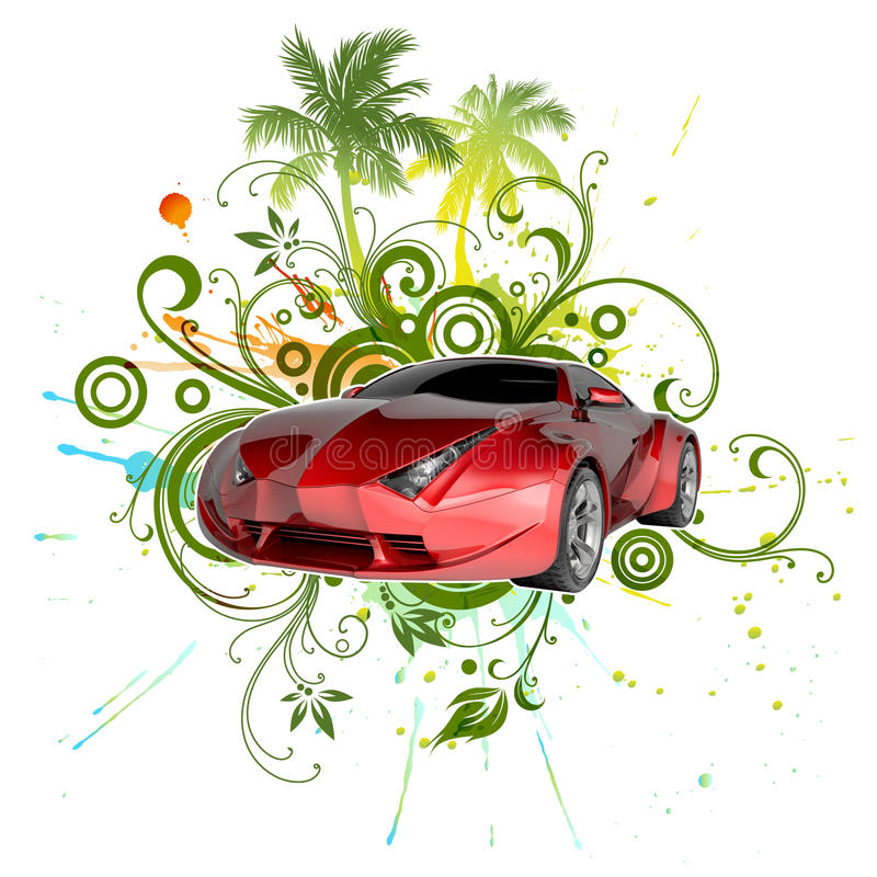 Red car stock illustration