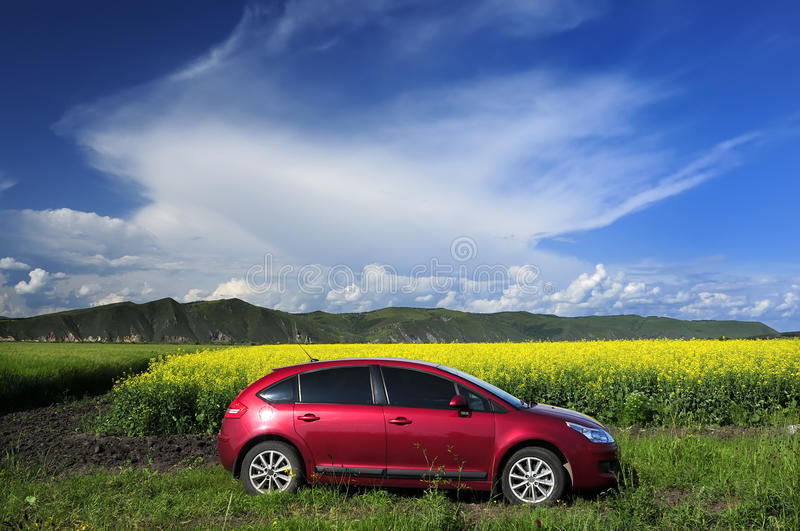 The red car. Red car and beautiful clouds in nature royalty free stock photo