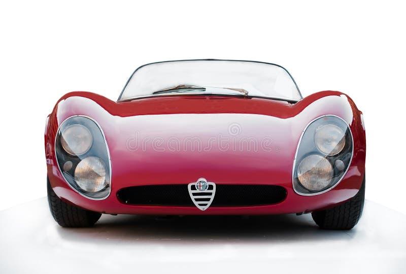 Red car cabrio Alfa Romeo 33 Stradale stock photos