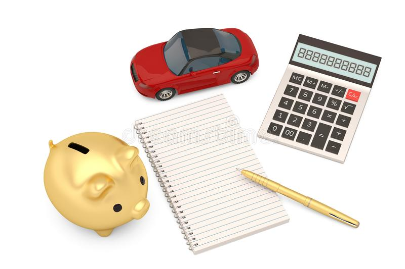 Red car with calculator and notebook and gold piggy bank.3D illustration. royalty free illustration