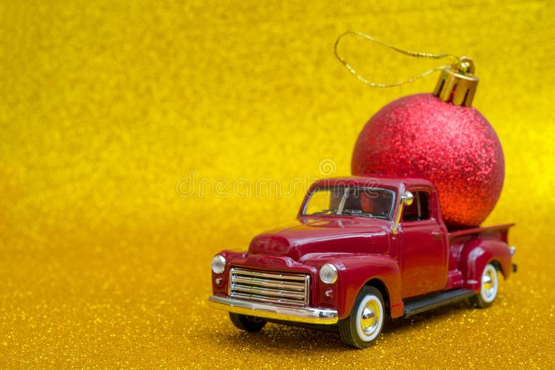 Christmas composition with car and toy. royalty free stock photo