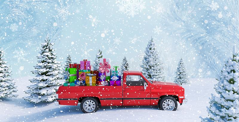 Red Car Carrying Christmas Gifts In Snowy Landscape 3d render stock illustration