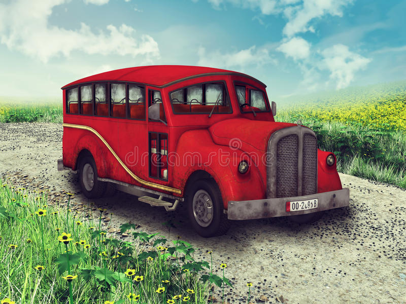 Red car on a country road royalty free illustration