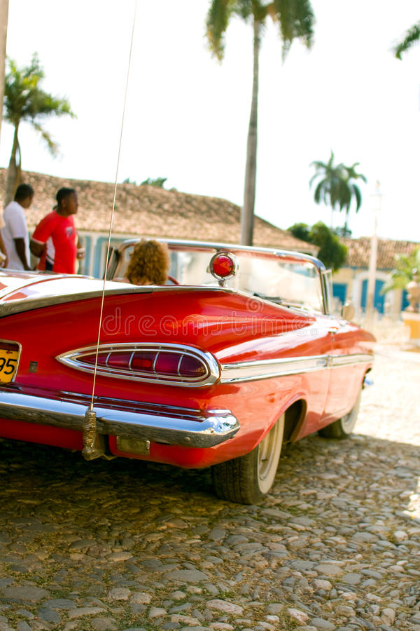 Red car in Cuba royalty free stock images