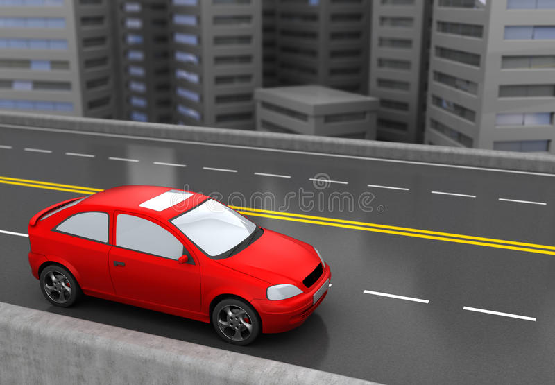 Red car. 3d illustration of red car and city road royalty free illustration